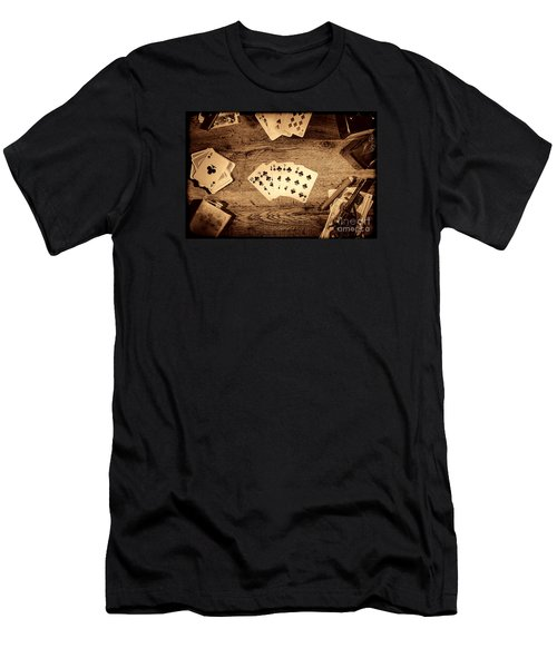 Straight Flush Men's T-Shirt (Slim Fit) by American West Legend By Olivier Le Queinec