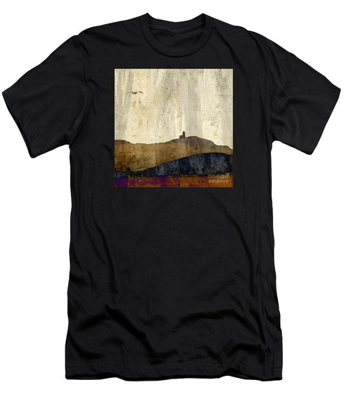 Men's T-Shirt (Slim Fit) featuring the photograph Strata With Lighthouse And Gull by LemonArt Photography