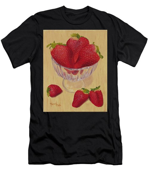 Men's T-Shirt (Athletic Fit) featuring the painting Strawberries In Crystal Dish by Nancy Nale