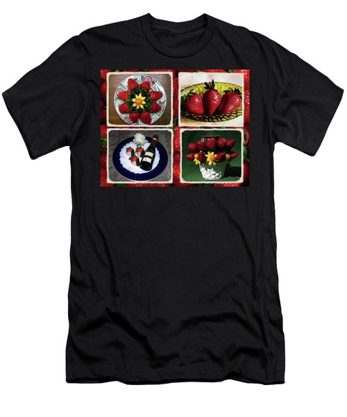 Men's T-Shirt (Slim Fit) featuring the photograph Strawberry Collage by Sally Weigand