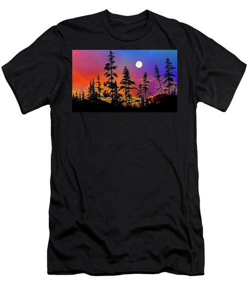 Men's T-Shirt (Athletic Fit) featuring the painting Strawberry Moon Sunset by Hanne Lore Koehler
