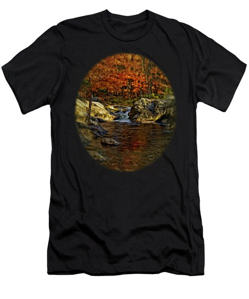 Men's T-Shirt (Athletic Fit) featuring the photograph Stream In Autumn 57 In Oil by Mark Myhaver