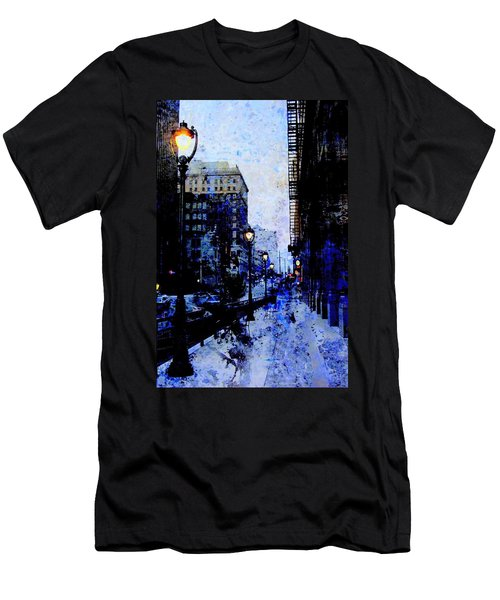 Street Lamps Sidewalk Abstract Men's T-Shirt (Athletic Fit)