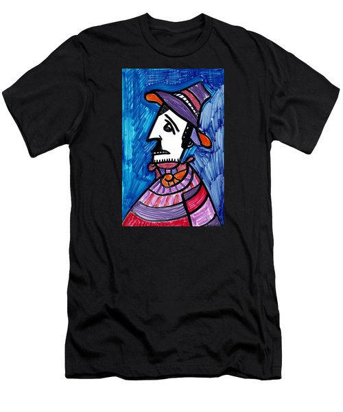 Men's T-Shirt (Slim Fit) featuring the painting Street Peddler by Don Koester