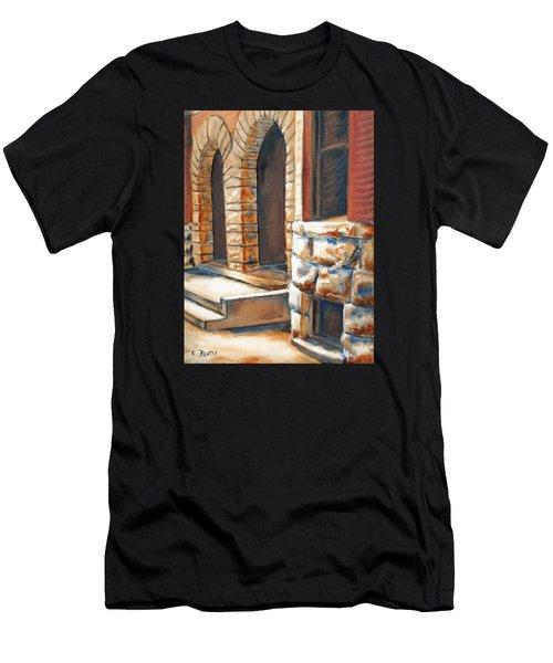 Street Scene Oil Painting Men's T-Shirt (Athletic Fit)