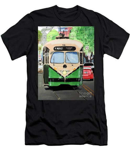Men's T-Shirt (Slim Fit) featuring the painting Streetcar Not Named Desire by Tom Riggs