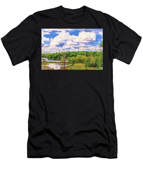 Striking Clouds Above Small Water Inlet And Green Trees Men's T-Shirt (Athletic Fit)