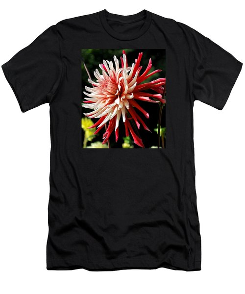 Striking Dahlia Red And White Men's T-Shirt (Athletic Fit)