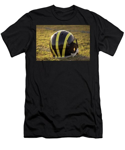 Striped Wolverine Helmet On The Field At Dawn Men's T-Shirt (Athletic Fit)