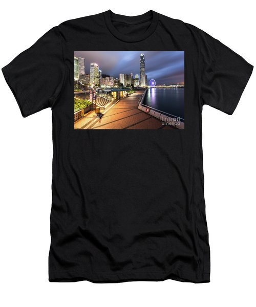 Stunning View Of Hong Kong Central Business District Skyscrapers Men's T-Shirt (Athletic Fit)