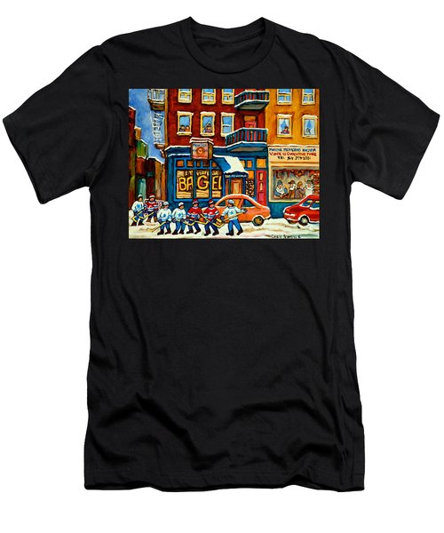 St.viateur Bagel Hockey Montreal Men's T-Shirt (Athletic Fit)