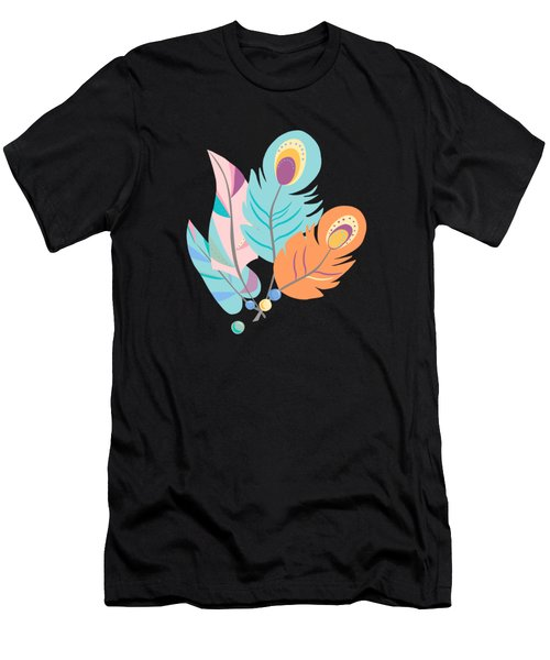 Stylized Peacock Feather Design Men's T-Shirt (Athletic Fit)