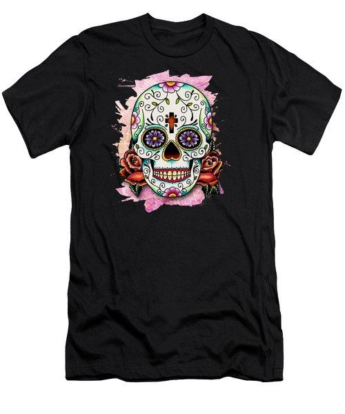 Sugar Skull Men's T-Shirt (Slim Fit) by Maria Arango
