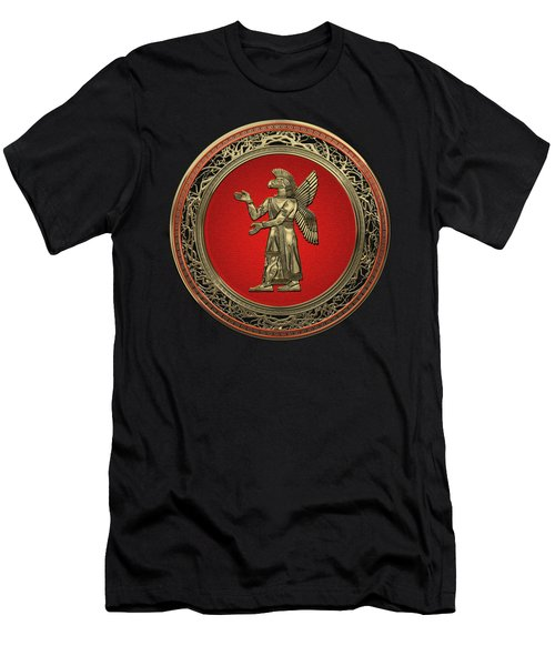 Sumerian Deities - Gold God Ninurta Over Black Velvet Men's T-Shirt (Athletic Fit)