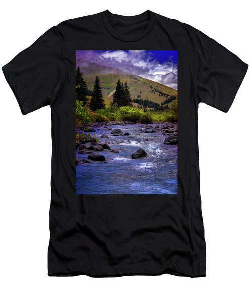 Men's T-Shirt (Slim Fit) featuring the photograph Summer At The Animas River by Ellen Heaverlo