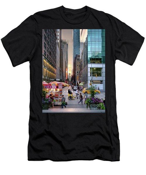 Summer Evening, New York City  -17705-17711 Men's T-Shirt (Slim Fit) by John Bald