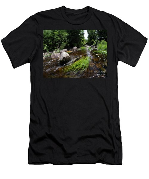 Summer Flow Of Water Near Rangeley Maine  -63322 Men's T-Shirt (Athletic Fit)