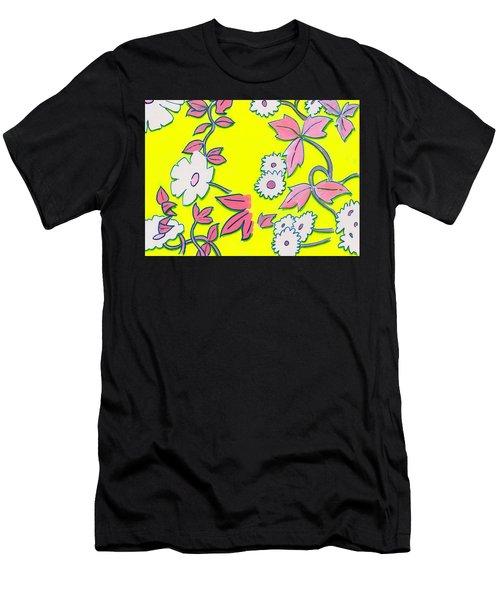 Summer Garden Climbing Plants Yellow Purple Men's T-Shirt (Athletic Fit)