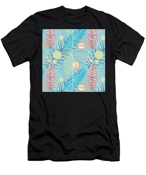Summer Leaf In Blue  Men's T-Shirt (Athletic Fit)