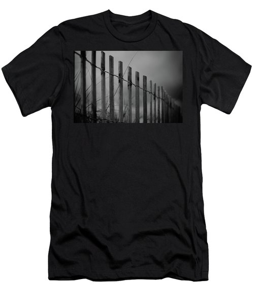 Men's T-Shirt (Slim Fit) featuring the photograph Summer Storm Beach Fence Mono by Laura Fasulo