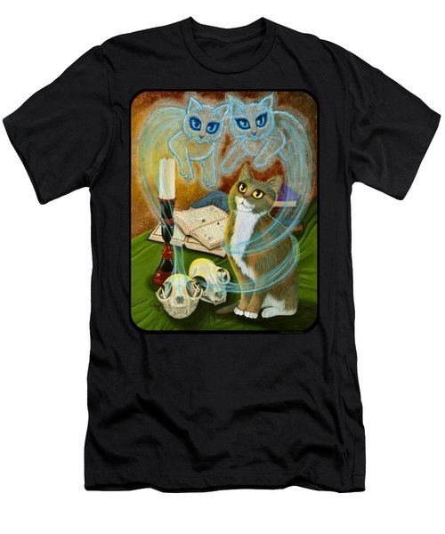 Men's T-Shirt (Athletic Fit) featuring the painting Summoning Old Friends - Ghost Cats Magic by Carrie Hawks