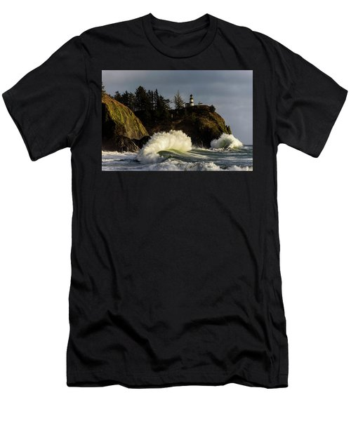 Sun And Surf With Lighthouse Men's T-Shirt (Athletic Fit)