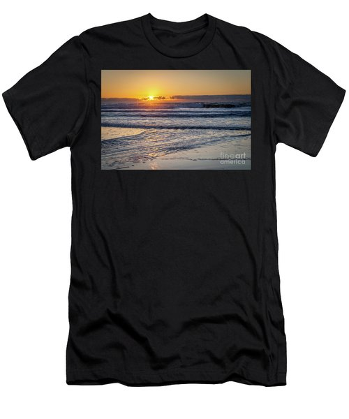 Sun Behind Clouds With Beach And Waves In The Foreground Men's T-Shirt (Athletic Fit)