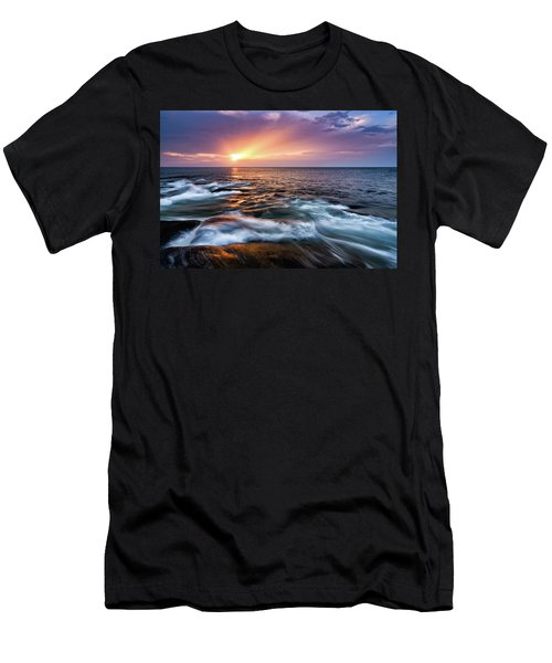 Men's T-Shirt (Athletic Fit) featuring the photograph Sun Rays, Halibut Pt. Rockport Ma. by Michael Hubley