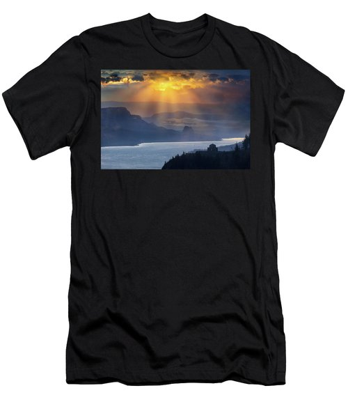 Sun Rays Over Columbia River Gorge During Sunrise Men's T-Shirt (Athletic Fit)