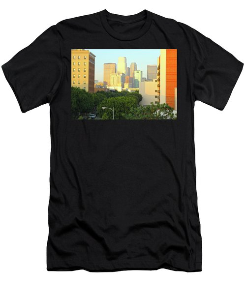 Sun Sets On Downtown Los Angeles Buildings #1 Men's T-Shirt (Athletic Fit)