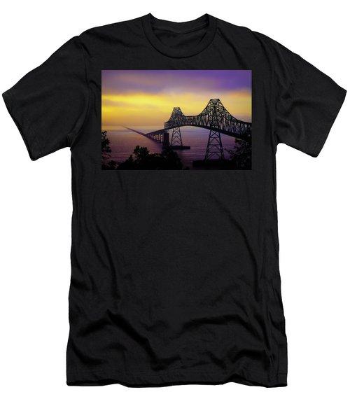 Sun Setting Through The Fog Men's T-Shirt (Slim Fit) by David Patterson