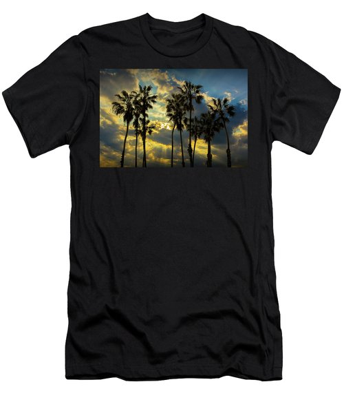 Men's T-Shirt (Slim Fit) featuring the photograph Sunbeams And Palm Trees By Cabrillo Beach by Randall Nyhof