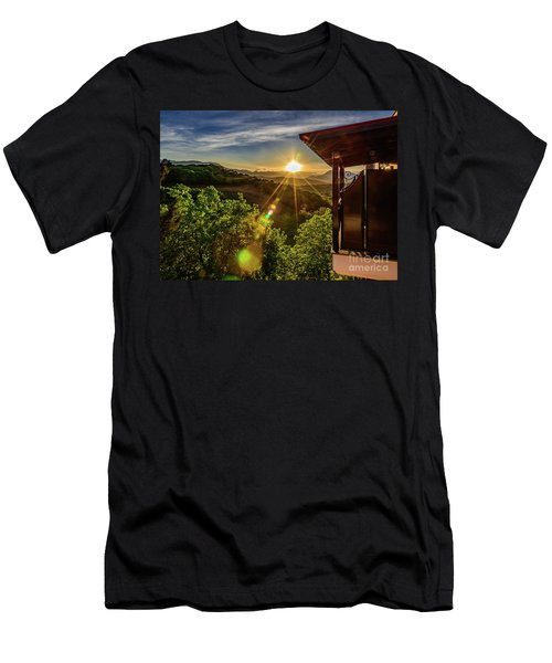 Sunburst View From Dellas Boutique Hotel Near Meteora In Kastraki, Kalambaka, Greece Men's T-Shirt (Athletic Fit)