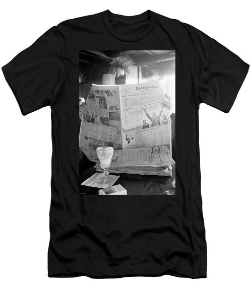 Men's T-Shirt (Athletic Fit) featuring the photograph Sunday Times And Irish Coffee by Frank DiMarco