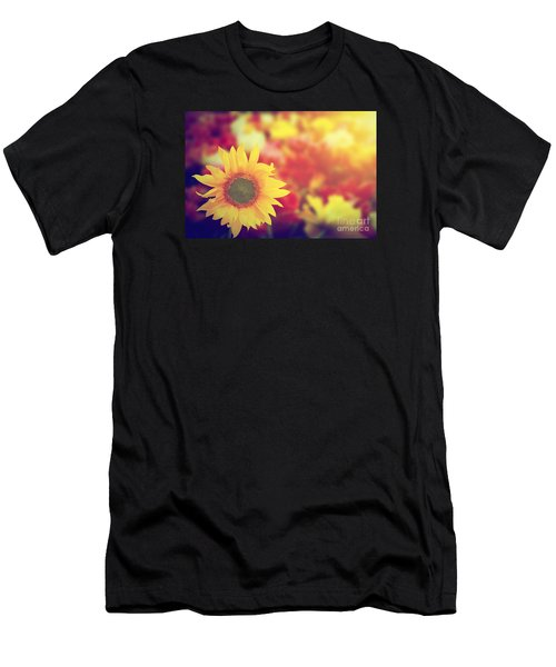 Sunflower Among Other Spring Summer Flowers At Sunshine Men's T-Shirt (Athletic Fit)