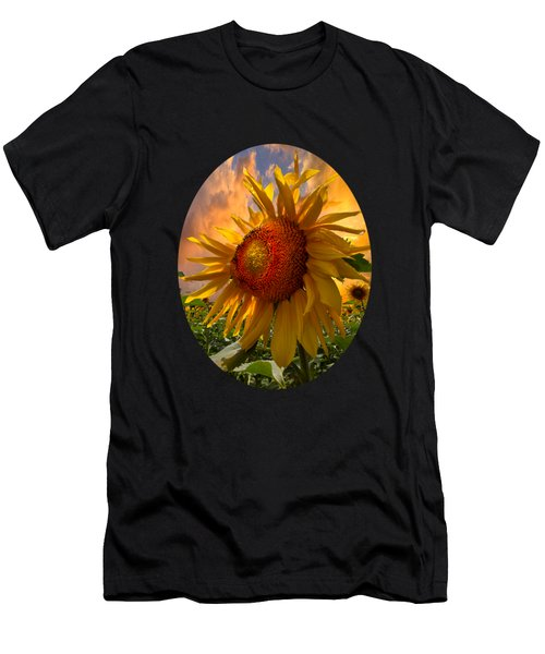 Men's T-Shirt (Slim Fit) featuring the photograph Sunflower Dawn In Oval by Debra and Dave Vanderlaan