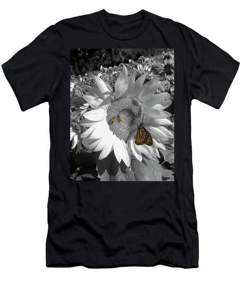 Sunflower In Black And White Men's T-Shirt (Athletic Fit)