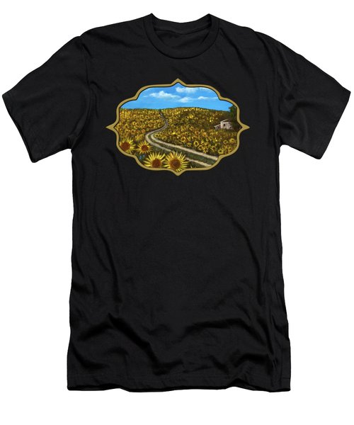 Men's T-Shirt (Athletic Fit) featuring the painting Sunflower Road by Anastasiya Malakhova