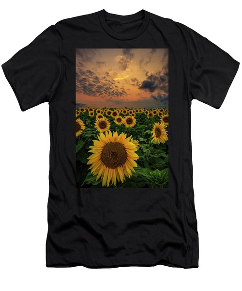Men's T-Shirt (Athletic Fit) featuring the photograph Sunflower Sunset  by Aaron J Groen