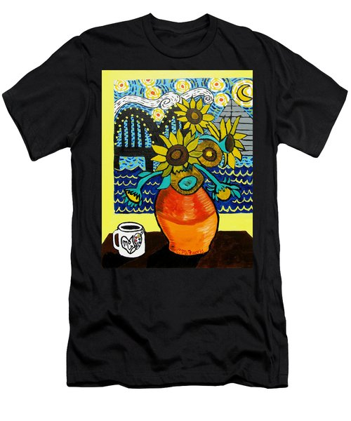 Sunflowers And Starry Memphis Nights Men's T-Shirt (Athletic Fit)