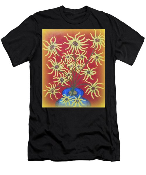 Sunflowers In A Blue Vase Men's T-Shirt (Athletic Fit)