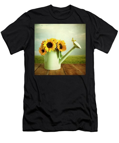 Sunflowers In A Watering Can Men's T-Shirt (Athletic Fit)