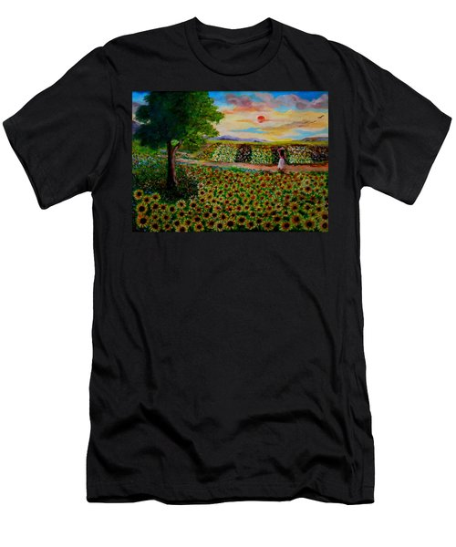 Sunflowers In Sunset Men's T-Shirt (Athletic Fit)