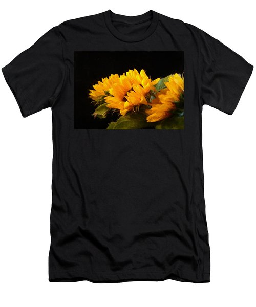 Sunflowers On A Black Background Men's T-Shirt (Athletic Fit)