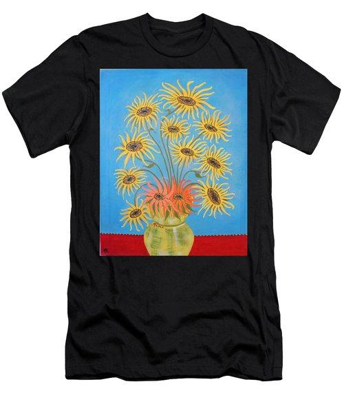 Sunflowers On Blue Men's T-Shirt (Athletic Fit)
