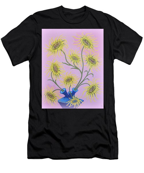 Sunflowers On Pink Men's T-Shirt (Athletic Fit)