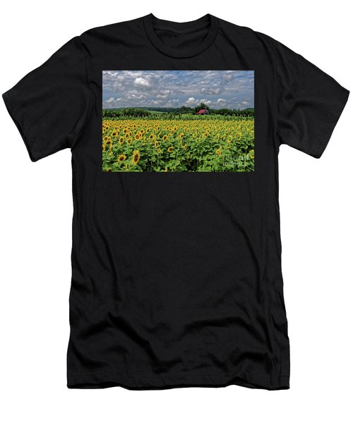 Sunflowers With Barn Men's T-Shirt (Athletic Fit)