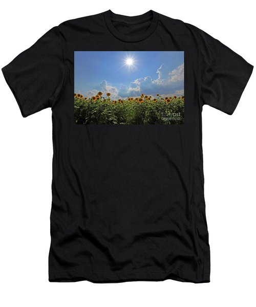 Sunflowers With Sun And Clouds 1 Men's T-Shirt (Athletic Fit)