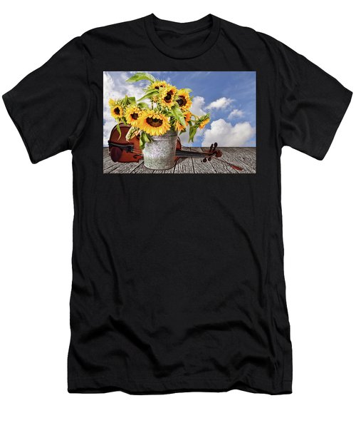 Sunflowers With Violin Men's T-Shirt (Athletic Fit)