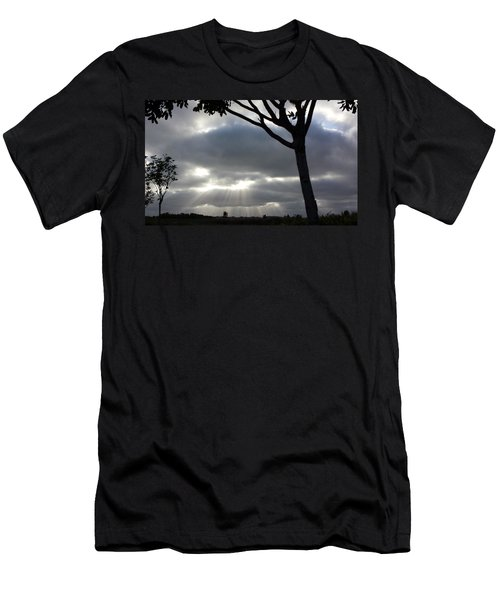 Sunlit Gray Clouds At Otay Ranch Men's T-Shirt (Slim Fit) by Karen J Shine